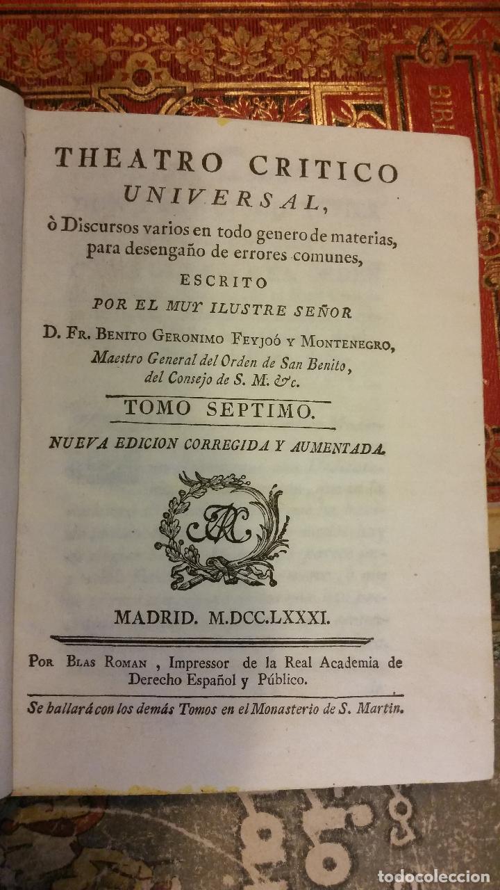 Libros antiguos: 1781 - FEIJOO - TEATRO CRÍTICO UNIVERSAL - TOMO SÉPTIMO: VENIDA DEL ANTICRISTO - Foto 2 - 270561948