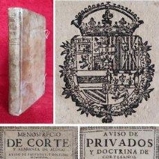 Libros antiguos: AÑO 1673 - PRECIOSO - ANTONIO DE GUEVARA - MENOSPRECIO DE LA CORTE Y ALABANZA DE ALDEA - 2 OBRAS. Lote 271156648