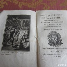 Libros antiguos: 1799-DON QUIJOTE DE LA MANCHA.MIGUEL DE CERVANTES.FRANCÉS.UN GRABADO.TOMO 3. ORIGINAL.AÑO VII. Lote 277172338