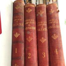 Libros antiguos: 1892 OBRAS COMPLETAS DE VOLTAIRE 4 TOMOS PRÓLOGO DE VICTOR HUGO - VALENCIA SENENT EDITOR. Lote 277416848