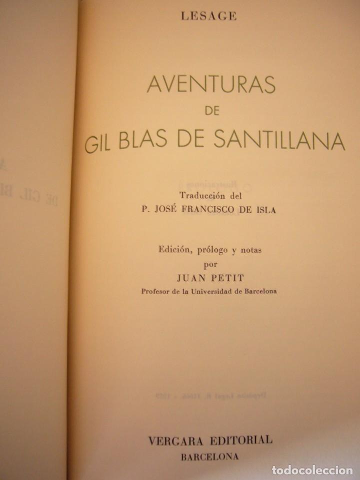 Libros antiguos: LESAGE: AVENTURAS DE GIL BLAS DE SANTILLANA (VERGARA, 1959) PRIMERA ED. EN PLENA PIEL CON ESTUCHE - Foto 6 - 278609513