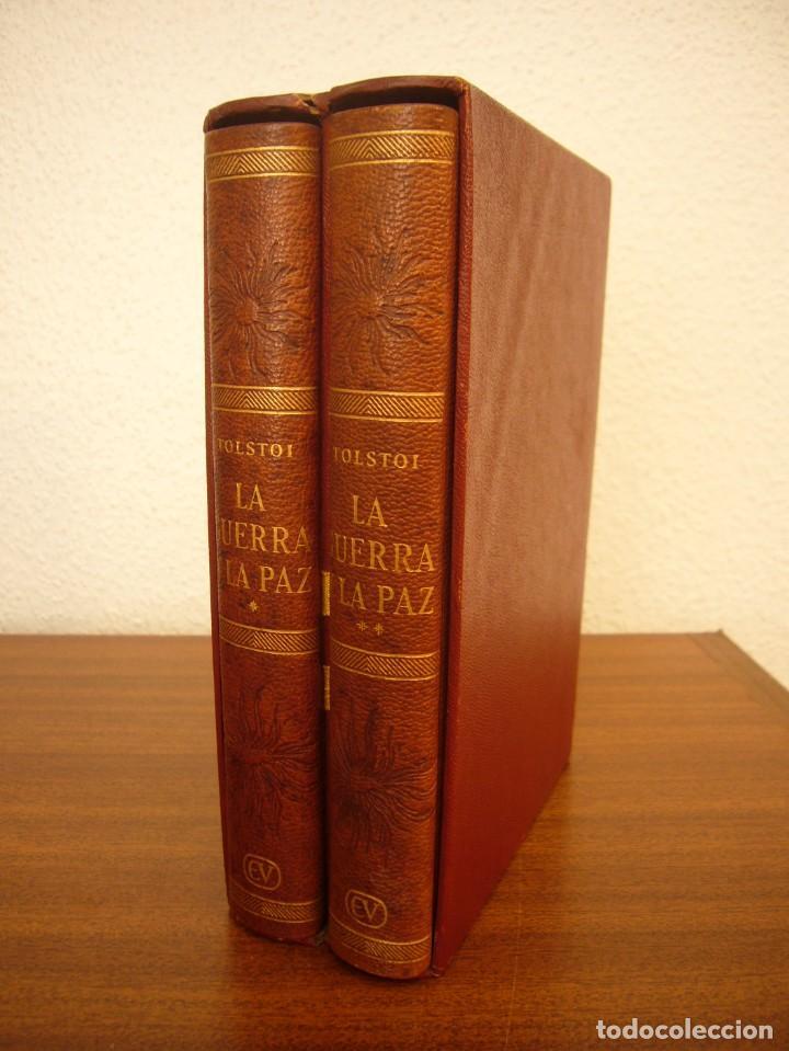 TOLSTOI: LA GUERRA Y LA PAZ. 2 VOLS. (VERGARA, 1959) PAPEL BIBLIA. PRIMERA ED. EN PLENA PIEL. (Libros antiguos (hasta 1936), raros y curiosos - Literatura - Narrativa - Clásicos)