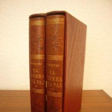 Libros antiguos: TOLSTOI: LA GUERRA Y LA PAZ. 2 VOLS. (VERGARA, 1959) PAPEL BIBLIA. PRIMERA ED. EN PLENA PIEL.. Lote 278611908