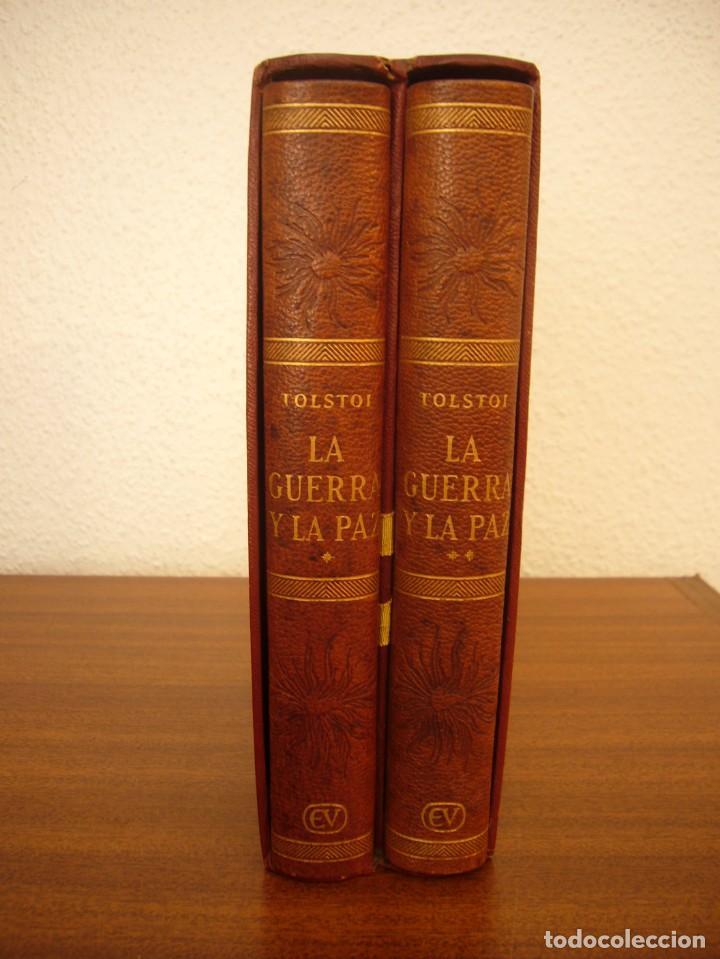 Libros antiguos: TOLSTOI: LA GUERRA Y LA PAZ. 2 VOLS. (VERGARA, 1959) PAPEL BIBLIA. PRIMERA ED. EN PLENA PIEL. - Foto 2 - 278611908
