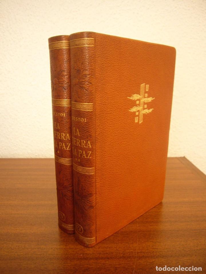 Libros antiguos: TOLSTOI: LA GUERRA Y LA PAZ. 2 VOLS. (VERGARA, 1959) PAPEL BIBLIA. PRIMERA ED. EN PLENA PIEL. - Foto 3 - 278611908