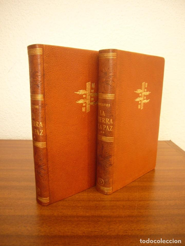 Libros antiguos: TOLSTOI: LA GUERRA Y LA PAZ. 2 VOLS. (VERGARA, 1959) PAPEL BIBLIA. PRIMERA ED. EN PLENA PIEL. - Foto 4 - 278611908