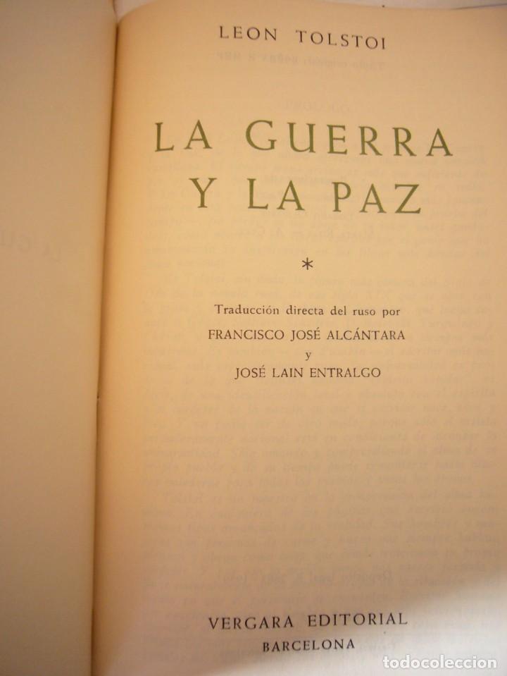 Libros antiguos: TOLSTOI: LA GUERRA Y LA PAZ. 2 VOLS. (VERGARA, 1959) PAPEL BIBLIA. PRIMERA ED. EN PLENA PIEL. - Foto 7 - 278611908