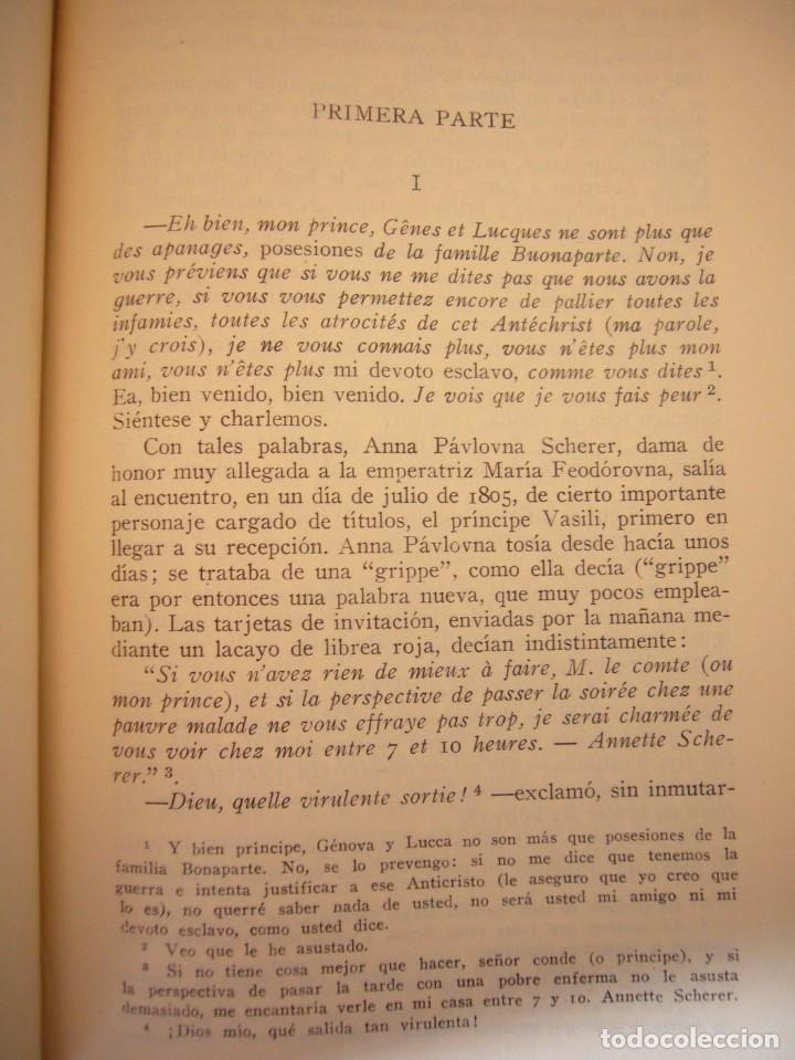 Libros antiguos: TOLSTOI: LA GUERRA Y LA PAZ. 2 VOLS. (VERGARA, 1959) PAPEL BIBLIA. PRIMERA ED. EN PLENA PIEL. - Foto 8 - 278611908