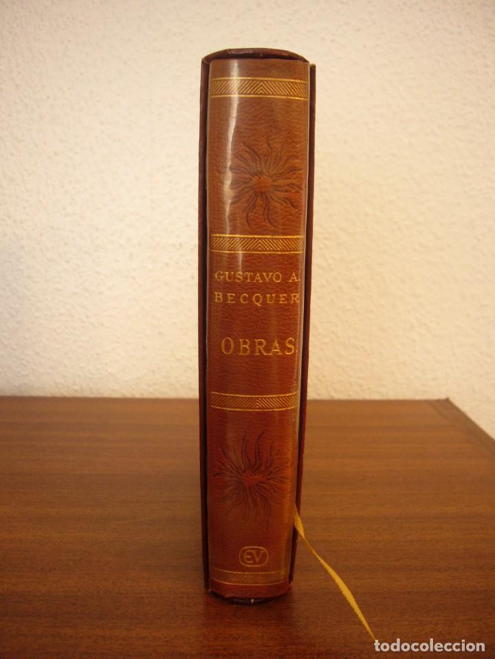 Libros antiguos: BÉCQUER: OBRAS (VERGARA, 1962) PAPEL BIBLIA. PRIMERA ED. EN PLENA PIEL CON ESTUCHE. PERFECTO. - Foto 2 - 278612818