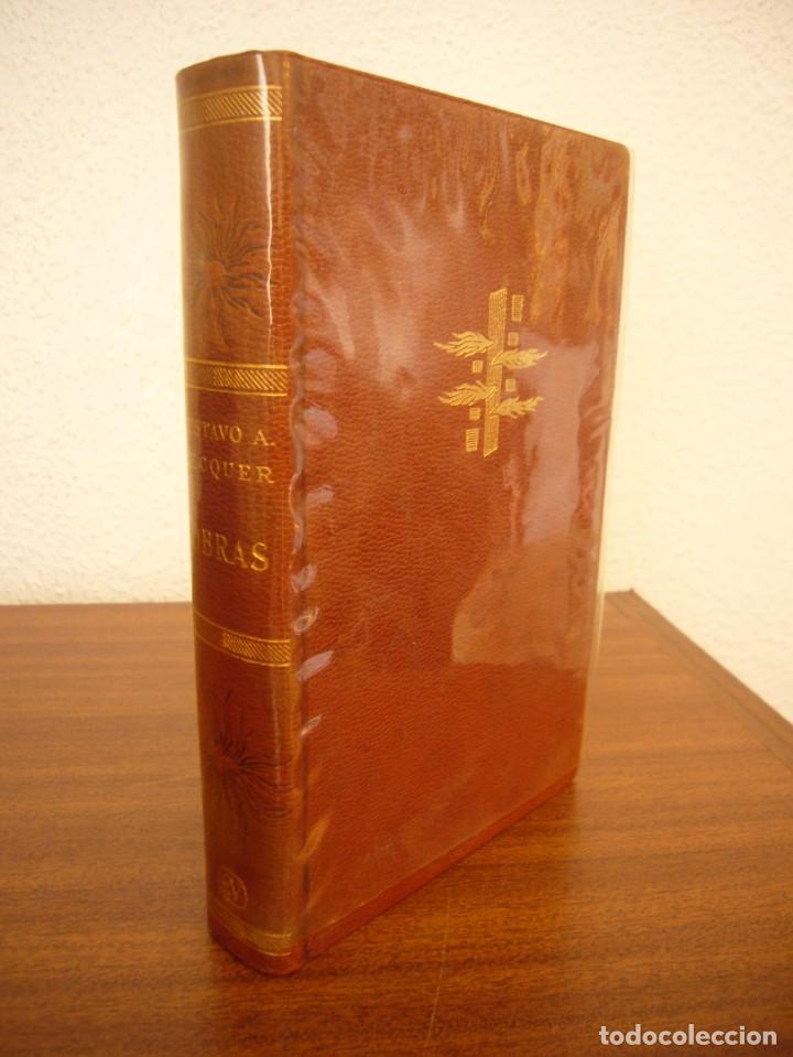 Libros antiguos: BÉCQUER: OBRAS (VERGARA, 1962) PAPEL BIBLIA. PRIMERA ED. EN PLENA PIEL CON ESTUCHE. PERFECTO. - Foto 3 - 278612818