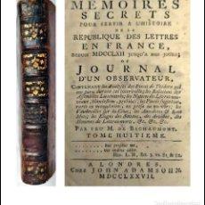 Libros antiguos: AÑO 1777: MEMORIAS SECRETAS PARA SERVIR A LA HISTORIA DE LA REPÚBLICA DE LAS LETRAS.. Lote 293641178