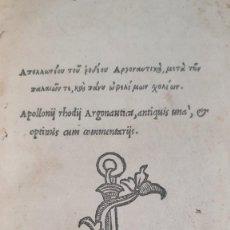 Libros antiguos: 1521.APOLLONIUS RHODIUS. LA ARGONÁUTICA. THE ARGONAUTICA, IN GREEK. Lote 286287203
