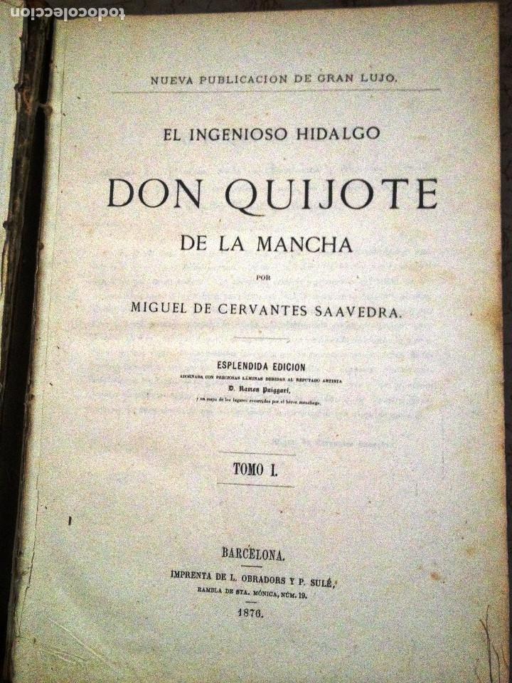 Libros antiguos: EL QUIJOTE. EDICION DE 1876- TIRADA DE GRAN LUJO- -Obradors y Suli- Barcelona- - Foto 3 - 286516613