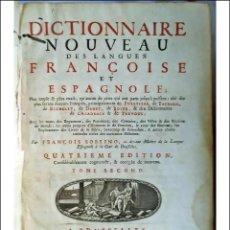 Libros antiguos: AÑO 1744: FRANCISCO SOBRINO: DICCIONARIO FRANCÉS-ESPAÑOL. 27 CM.. Lote 287849098