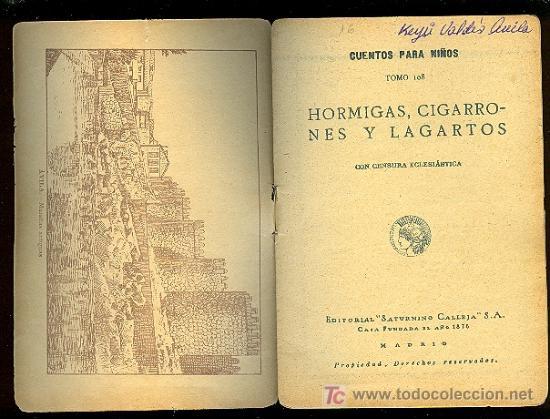 Libros antiguos: CALLEJA ,CUENTOS PARA NIÑOS TOMO 108-HORMIGAS ,CIGARRONES LAGARTOS - Foto 2 - 24160845