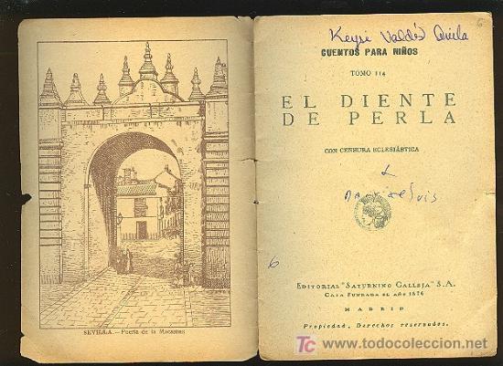 Libros antiguos: CALLEJA ,CUENTOS PARA NIÑOS TOMO 114-EL DIENTE DE PERLA - Foto 2 - 14091303