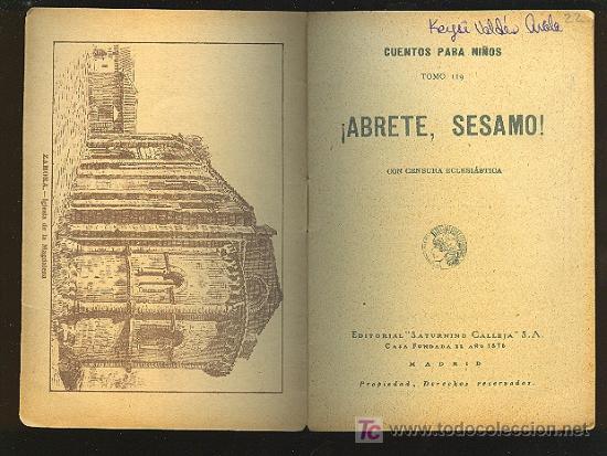 Libros antiguos: CALLEJA ,CUENTOS PARA NIÑOS TOMO 119-ABRETE SESAMO! - Foto 2 - 14091265