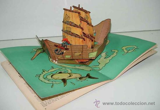 Libros antiguos: ANTIGUO CUENTO POP UP BOOKS - EL BARCO PIRATA - CUENTO DESPLEGABLE – página central desplegable – Ed - Foto 2 - 27329304