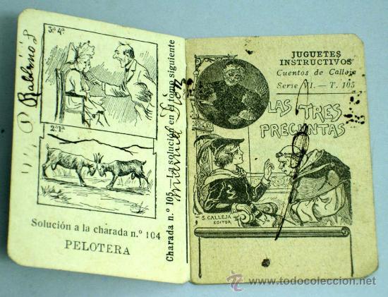 Libros antiguos: Las tres preguntas Cuento Saturnino Calleja Serie VI Tomo 105 6,5 cm x 5,5 cm - Foto 2 - 18756067