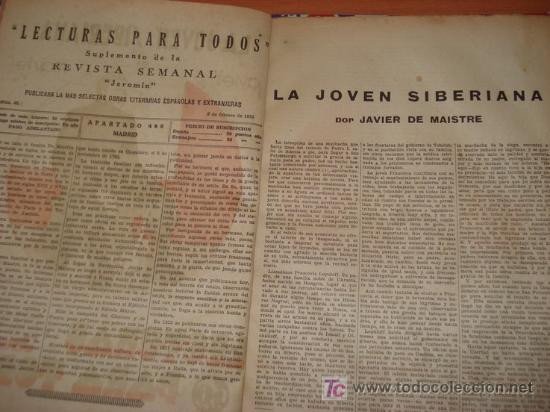Libros antiguos: LA JOVEN SIBERIANA. Javier de Maistre. Suplemento de la revista Jeromin. Año 1933 - Foto 2 - 27440118