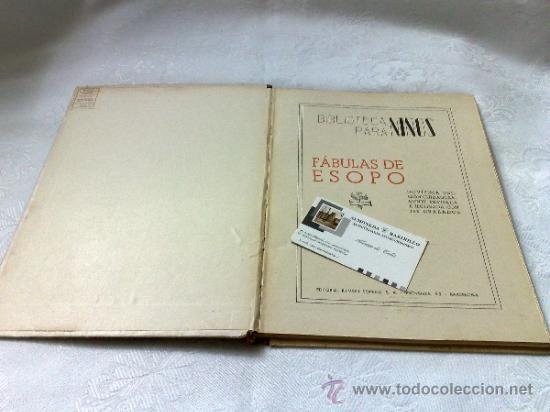 Libros antiguos: AÑO 1943- RAMON SOPENA.- BIBLIOTECA PARA NIÑOS.-FÁBULAS DE ESOPO. - Foto 2 - 33214138