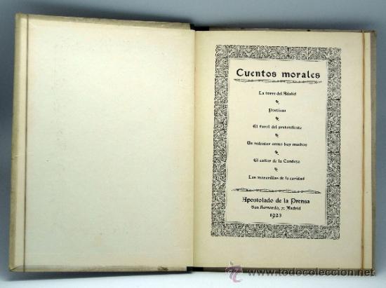 Libros antiguos: La Torre del Adalid y otros Cuentos morales Ed Apostolado de la Prensa 1923 - Foto 2 - 37780188