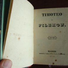 Libros antiguos: TIMOTEO Y FILEMÓN, CANÓNIGO SCHMID, ORIGINAL DE 1844, PRIMERA EDICIÓN EN ESPAÑOL. Lote 39716884