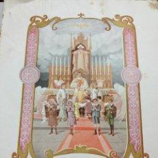 Libros antiguos: ANTIGUA LAMINA PRIMERA COMUNION, RECORD PRIMERA COMUNIÓ - LES PRESES - 37X28CM - AÑO 1928. Lote 41736393