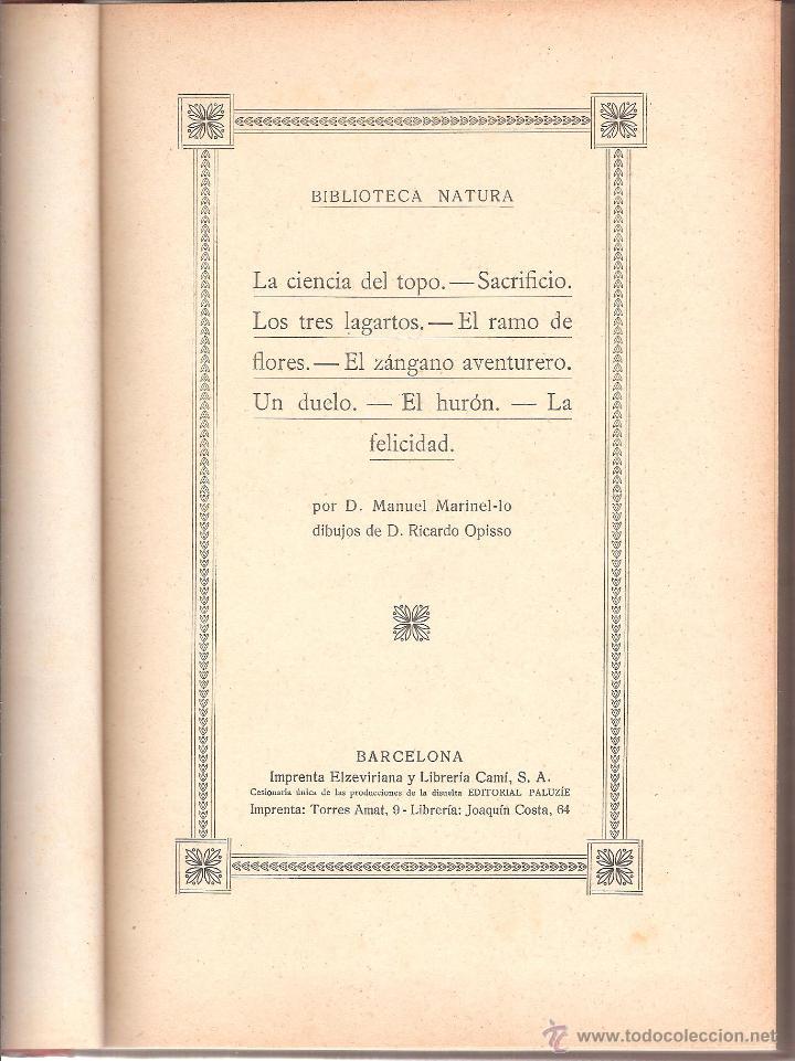 Libros antiguos: BELLOS EJEMPLOS DE BIBLIOTECA NATURA TOMO III AÑO 1918-ocasión - Foto 2 - 44313468