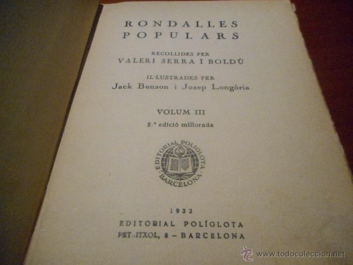 Libros antiguos: rondalles populars 1932 - Foto 2 - 48207458