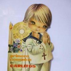 Libros antiguos: CUENTOS TROQUELADOS PRIMERA COMUNIÓN DE CARLITOS , ED ROMA 1965, 33,5 CM ALTO. Lote 54814236