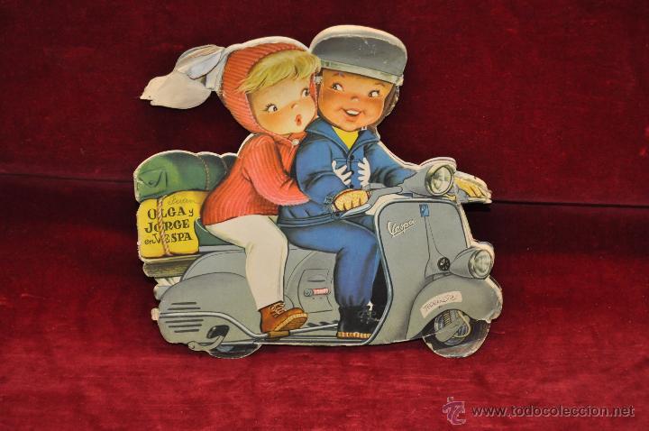 OLGA Y JORGE EN VESPA. CUENTO TROQUELADO ED.VILCAR. FERRANDIZ (Libros Antiguos, Raros y Curiosos - Literatura Infantil y Juvenil - Cuentos)