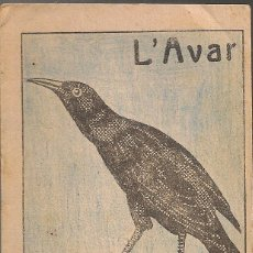Libros antiguos: L'AVAR / M. FOLCH I TORRES. COL. EN PATUFET ,239. 12X8CM. 15 P . Lote 52309333