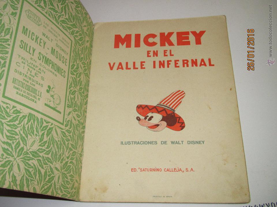 Libros antiguos: Antiguo *MICKEY en el Valle Infernal* Ilustr. Walt Disney y Edit. Saturnino Calleja del Año 1934 - Foto 2 - 54071385