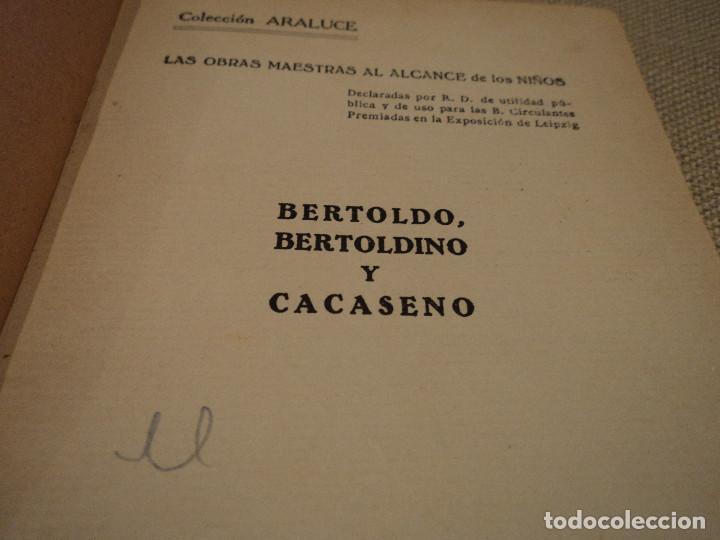 Libros antiguos: bertoldo bertoldino y cacaseno editorial araluce 1926 117 pag. 15 x 12 cm libreria ganivet, granada - Foto 3 - 65885090