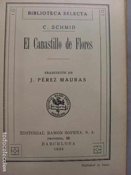 Libros antiguos: EL CANASTILLO DE FLORES/ Cristobal Schmid / Biblioteca Selecta 1934 - Foto 2 - 95644419