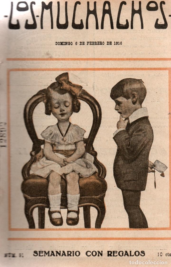 LOS MUCHACHOS. SEMANARIO CON REGALOS. NÚM. 91. DOMINGO 6 DE FEBRERO DE 1916. (Libros Antiguos, Raros y Curiosos - Literatura Infantil y Juvenil - Cuentos)