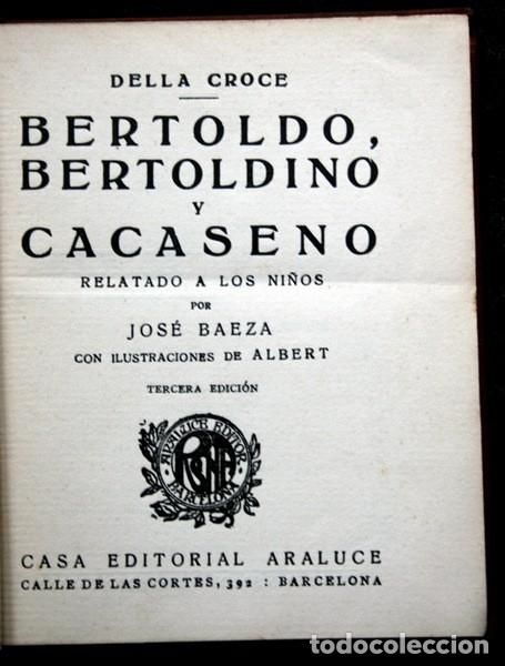 Libros antiguos: BERTOLDO , BERTOLDINO Y CACASENO - 1926 - ARALUCE - Ilustrado - Della CROCE - Foto 2 - 80163469