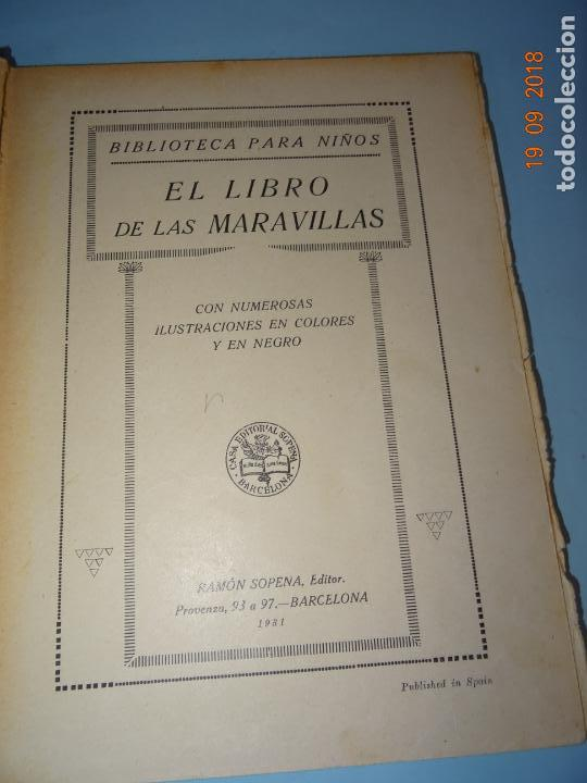 Libros antiguos: EL LIBRO DE LAS MARAVILLAS de 1931 Editorial Ramon Sopena BIBLIOTECA PARA NIÑOS - Foto 6 - 133867386