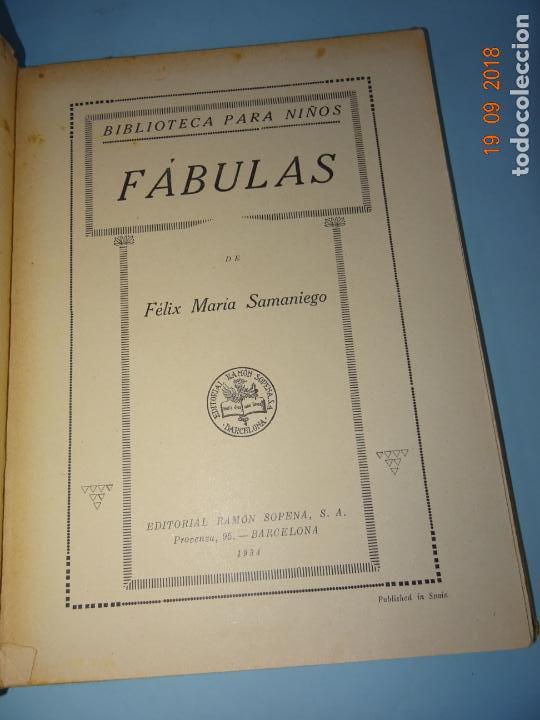 Libros antiguos: FÁBULAS DE SAMANIEGO 1ª Edición de 1934 Editorial Ramón Sopena BIBLIOTECA PARA NIÑOS - Foto 7 - 133927334