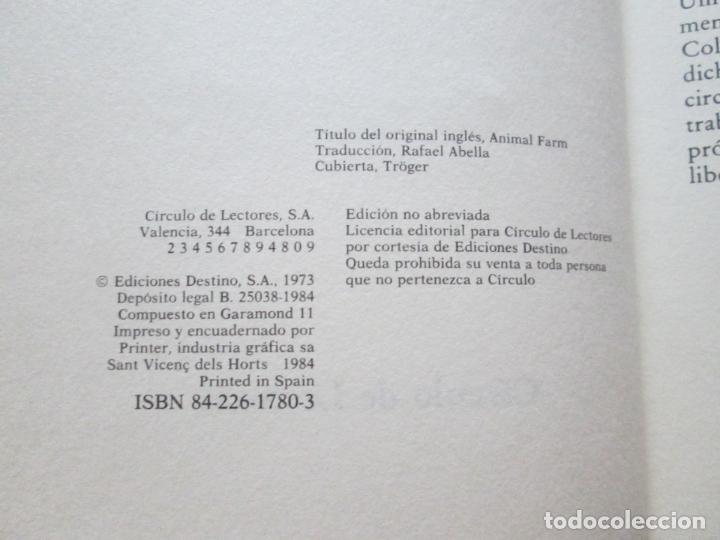 Libros antiguos: LIBRO-REBELIÓN EN LA GRANJA-GEORGE ORWELL-1984-CÍRCULO DE LECTORES-VER FOTOS - Foto 5 - 136151594