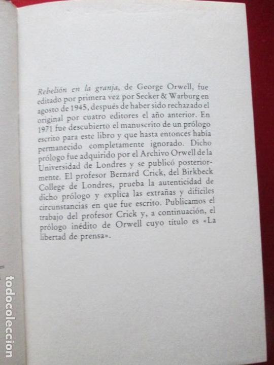 Libros antiguos: LIBRO-REBELIÓN EN LA GRANJA-GEORGE ORWELL-1984-CÍRCULO DE LECTORES-VER FOTOS - Foto 6 - 136151594