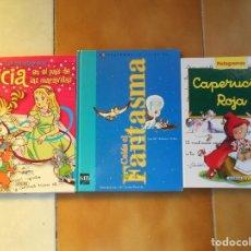 Libros antiguos: COLAS EL FANTASMA-ALICIA EN EL PAIS DE LAS MARAVILLAS Y CAPERUCITA ROJA-PICTOGRAMAS-TAPA DURA,. Lote 195231451