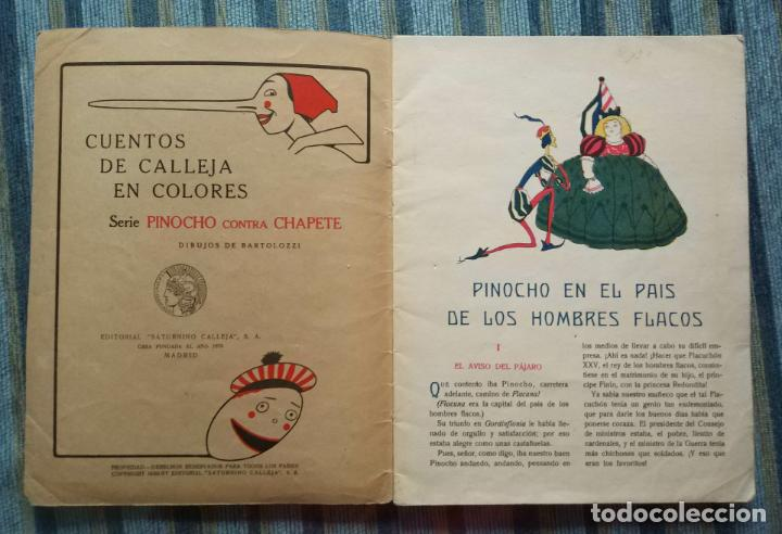 Libros antiguos: CUENTOS CALLEJA COLORES-PINOCHO CONTRA CHAPETE Nº 11: EN PAIS DE LOS HOMBRES FLACOS-BARTOLOZZI-1930 - Foto 2 - 141820230