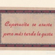 Libros antiguos: CAPERUCITA SE ASUSTA.CUENTO PUBLICIDAD DE LA AMUEBLADORA ARAGONESA.ZARAGOZA.AÑOS 20-30.. Lote 143591314