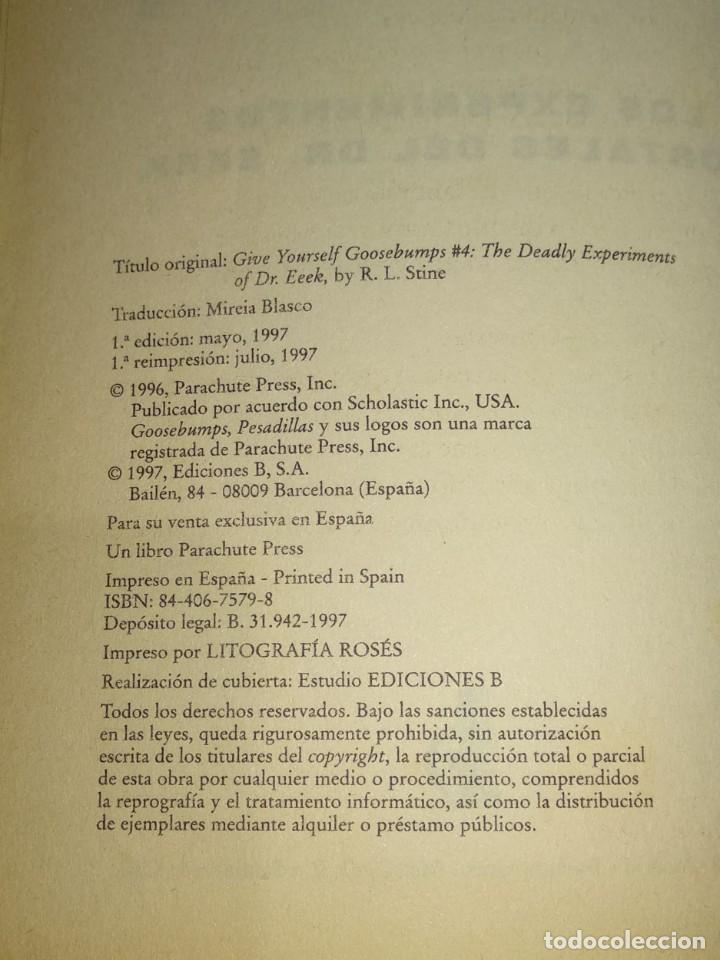 Libros antiguos: EN BUSCA DE TUS PESADILLAS Nº4-LOS EXPERIMENTOS MORTALES DEL DR. EEEK-20 FINALES ELIGE TU AVENTURA - Foto 4 - 146159458