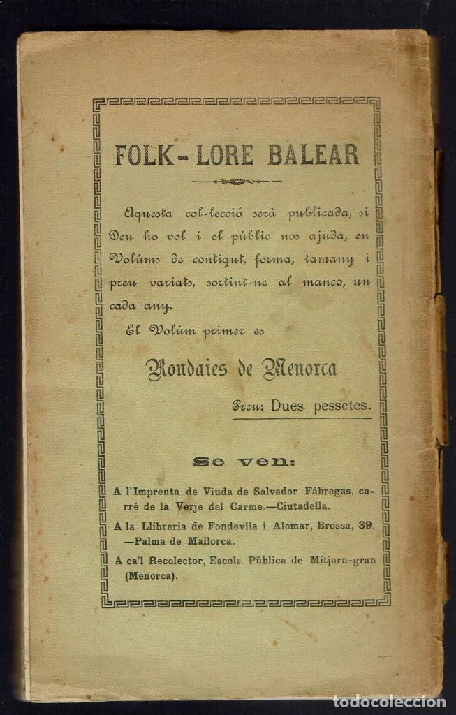 Libros antiguos: RONDAIES DE MENORCA. VOLUM I, POR ANDREU FERRER GINART. AÑO 1914. (MENORCA.5.7) - Foto 2 - 156940598