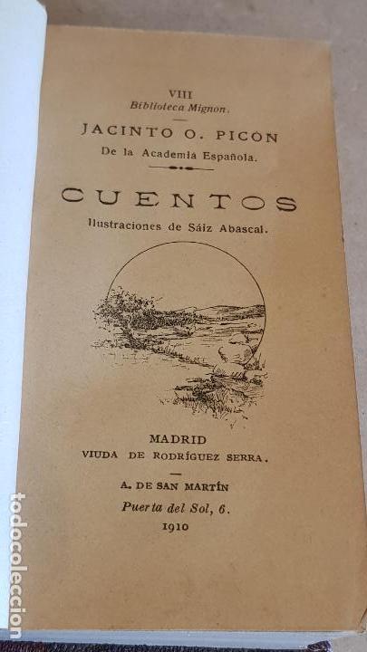 CUENTOS / JACINTO O. PICON / BIBLIOTECA MIGNON - AÑO 1910 / MUY BUEN ESTADO. (Libros Antiguos, Raros y Curiosos - Literatura Infantil y Juvenil - Cuentos)