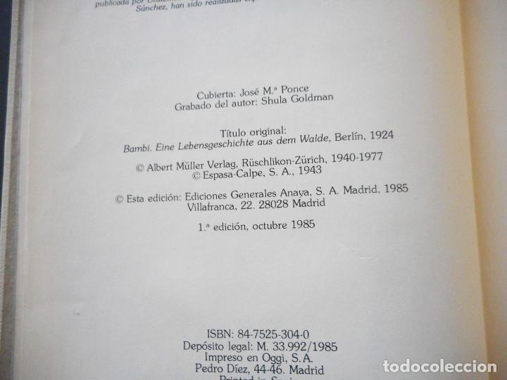 Libros antiguos: Bambi - Ediciones Generales Anaya - 1ª edición, 1985 - Foto 5 - 163530398