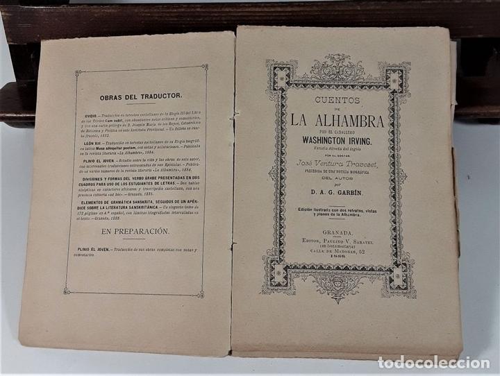 Libros antiguos: CUENTOS DE LA ALAMBRA. W. IRVING. EDIT. P. V. SABATEL. GRANADA. 1888. - Foto 4 - 164708830
